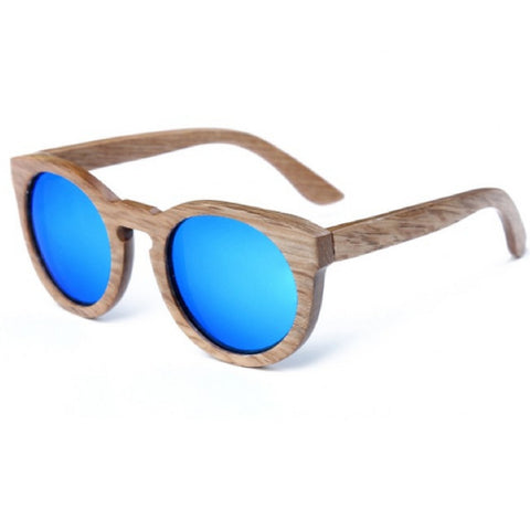 Sunglasses classical round frame with blue lenses