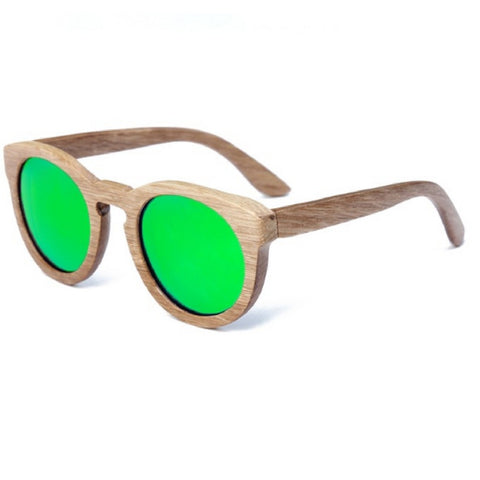 Sunglasses classical round frame with green lenses