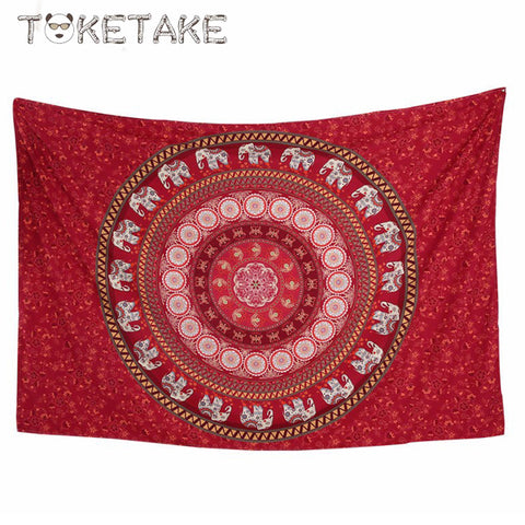 Red mandala yogi Tapestry elephant