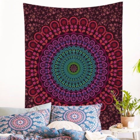 Colorful mandala yogi Tapestry model Sunset