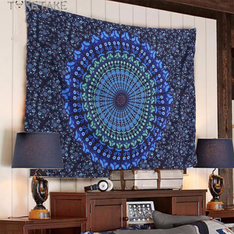 Blue mandala yogi Tapestry model Azur