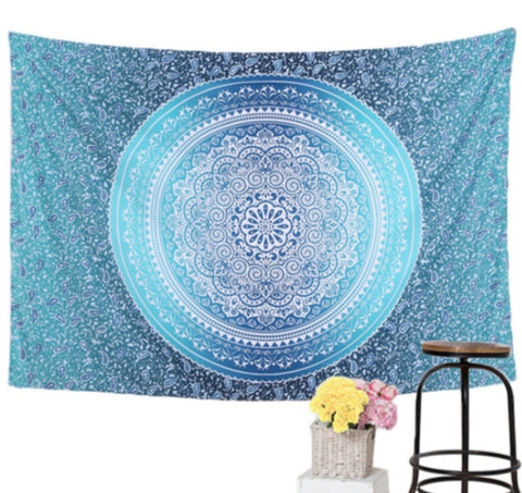 Blue mandala yogi Tapestry model Horizon