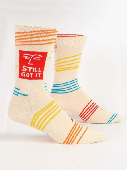 "BLUE Q - "" Still got it""Men's crew socks"