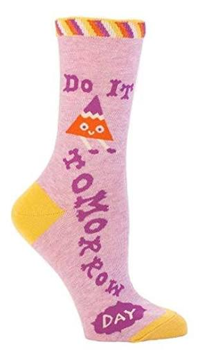 BLUEQ Do it tomorrow women's crew socks