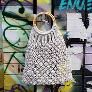 Handbag- Hemp rope net/white