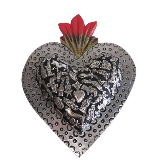 Mexican wall decor-Tin heart with embellished milagros (charm