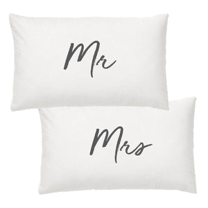 Wedding text Pillowcases - MR & MRS by SPLOSH