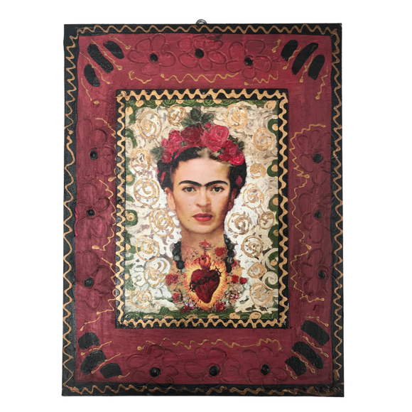 Folk art wall plaque-Frida Kahlo
