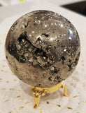 CRYSTAL - PYRITE SPHERE -(A Grade) with display stand