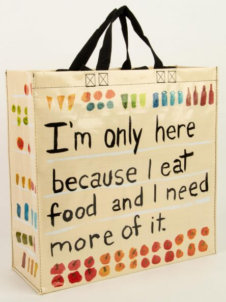 Shopping bag-I eat food by BlueQ