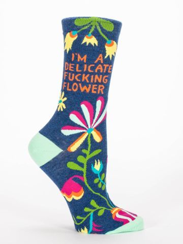 BlueQ-DELICATE FUCKING FLOWER Women's crew socks - Gizmo Gifts