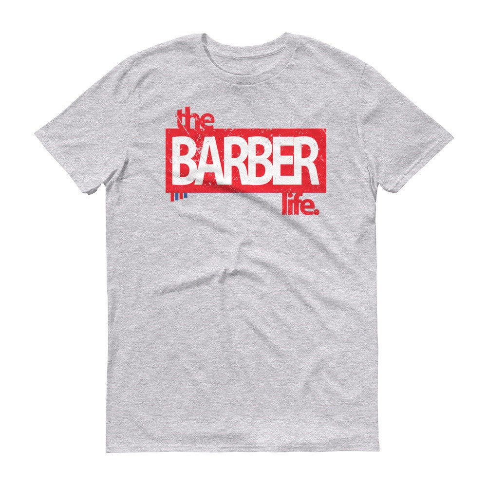 the barber life red logo tshirt � barber shirts