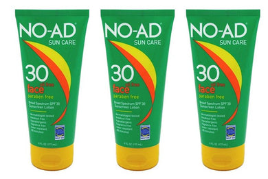 No-Ad Spf#30 Oil-Free Face Sunscreen Lotion 6 Ounce Tube (Pack of 3)
