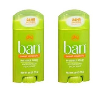 Ban Invisible Solid, Antiperspirant & Deodorant, Sweet Simplicity, 2.6 oz (Pack of 2)