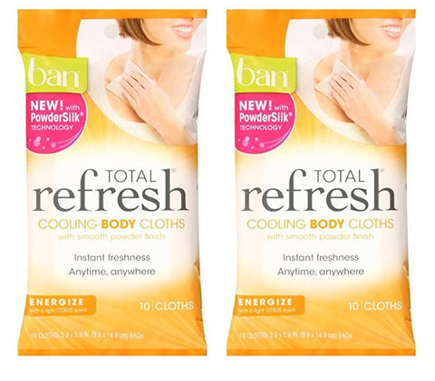 Ban Total Refresh Cooling Body Cloths 10 Count (Energize) (Pack of 2)