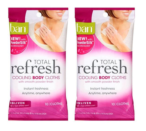 Ban Enlivin Total Refresh Cooling Body Cloths 10 Count (2 Pack)