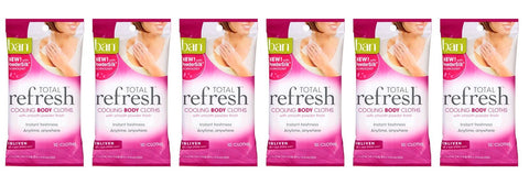 Ban Total Refresh Cooling Body Cloths - Enliven 10-Count (Pack of 6)