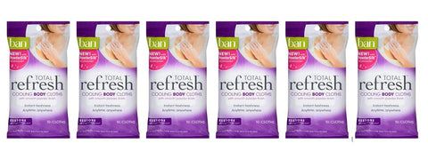 Ban Total Refresh Cooling Body Cloths Restore 10 Count (Pack of 6)