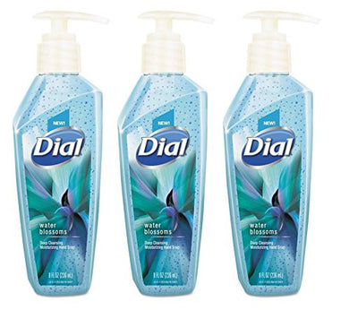 Dial Deep Cleansing Premium Liquid Hand Soap, 8 oz. Pump Bottle, Water Blossoms, Blue (Pack of 3)