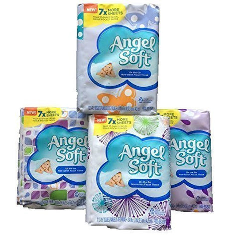 Angel Soft On the Go Non-Lotion Facial Tissue, 7X More Sheets- Assorted Pastel Colors-Total 4 Packs-288 2-ply Individual Tissues