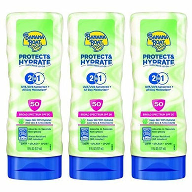 Banana Boat Protect & Hydrate Sunscreen Lotion 2 in 1 SPF 50, 6 Oz (Pack of 3)