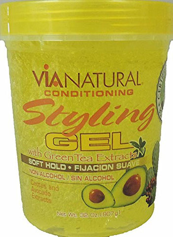 VIA NATURAL CACTUS AND AVOCADO STYLING GEL, WITH GREEN TEA EXTRACTS NON-ALCOHOL