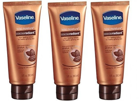 Vaseline Total Moisture Cocoa Radiant Rich Feeling Lotion 3 Oz (3 Pack)