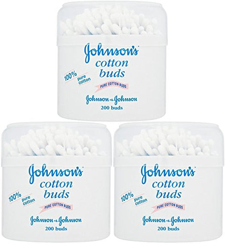 Johnson's Pure Cotton Swabs, 200 Count (Pack of 3)