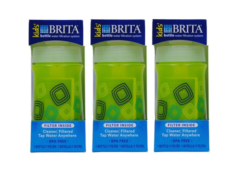 Brita Kids' Bottle Water Filtration System, Green (Pack of 3)