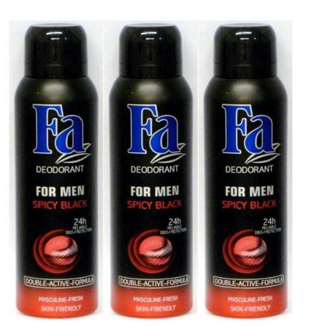 Fa For Men Spicy Black Spray Deodorant 150 ml / 5.07 oz (pack of 3)