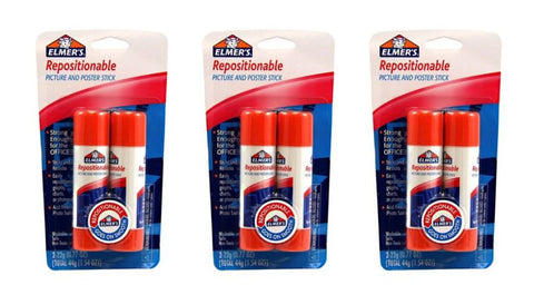 Elmer's Repositionable Picture and Poster Glue Stick (1.54oz) (Pack of 3)