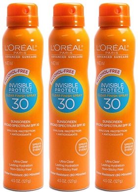 L'oreal Paris Advanced Suncare Alcohol-free Clear Spray SPF 70, for All Skin Types, 4.5 Ounce, (Pack of 3)