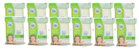 Puffs Fresh Faces Moist Nose and Face Wipes with Natural Saline, Vicks Menthol Scent, 15 Count (Pack of 12)