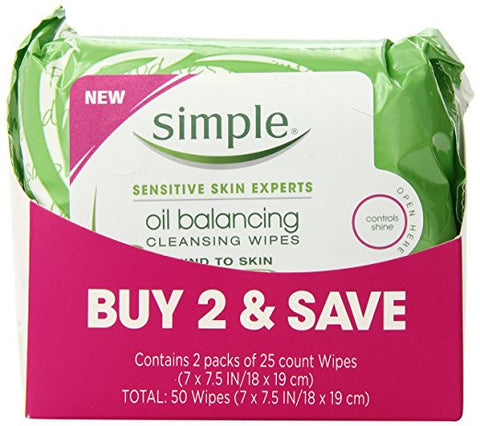 Simple Cleansing Facial Wipes, Oil Balancing 25 ct, Twin Pack