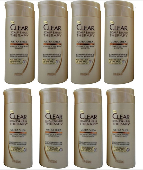 Clear Scalp & Hair Travel Size Ultra Shea Shampoo & Conditioner,1.7 Fl. Oz Each (4 Pack) Total of 8 BOTTLES
