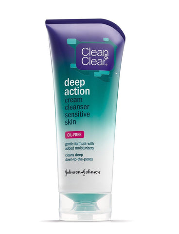 Clean & Clear Oil-Free Deep Action Cream Cleaner for Sensitive Skin, 6.5 Ounce