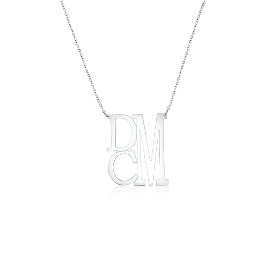 Sterling Silver Medium Stacked Monogram Split Chain Necklace