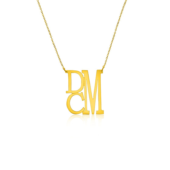 Gold Vermeil Medium Stacked Monogram Split Chain Necklace - Temptic Personalized Jewelry - Monograms - Name Plates - Name Bars - Silver and Gold