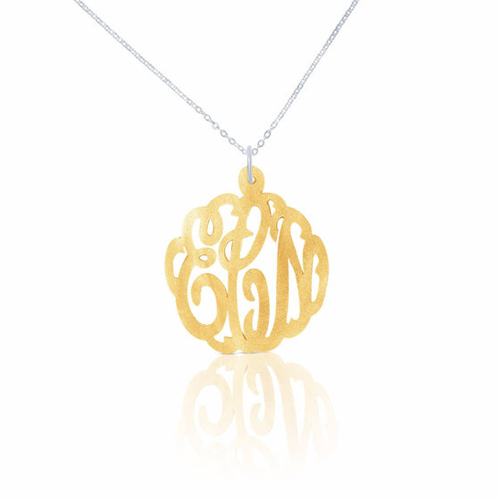 Acrylic Script Monogram Pendant Necklace - Temptic Personalized Jewelry - Monograms - Name Plates - Name Bars - Silver and Gold