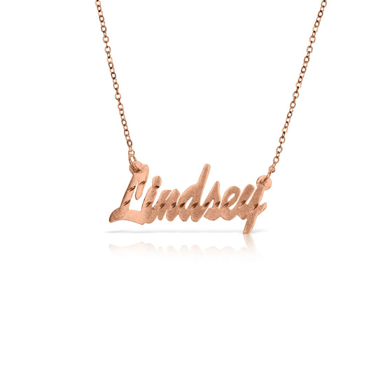 "Rose Gold Vermeil Diamond Cut ""Brittany"" Name Necklace"