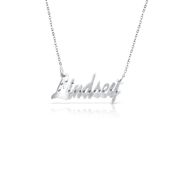 "Sterling Silver Diamond Cut ""Brittany"" Name Necklace"