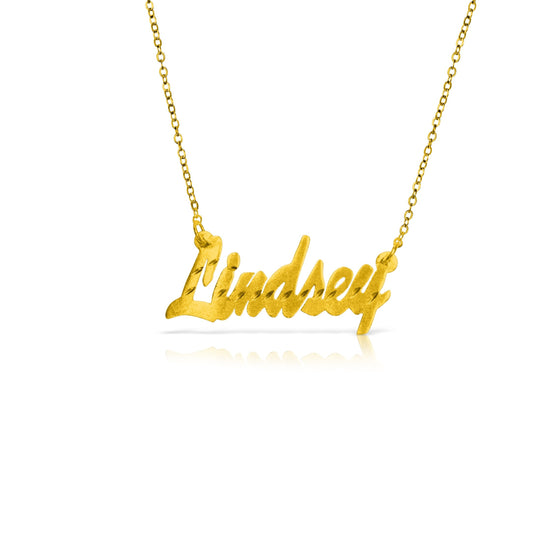 "Gold Vermeil Diamond Cut ""Brittany"" Name Necklace - Temptic Personalized Jewelry - Monograms - Name Plates - Name Bars - Silver and Gold"