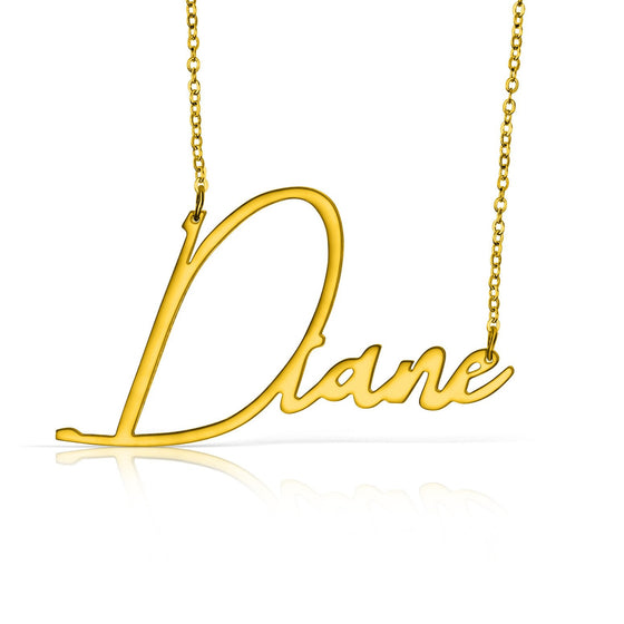 Gold Vermeil Handwritten Name Necklace - Temptic Personalized Jewelry - Monograms - Name Plates - Name Bars - Silver and Gold