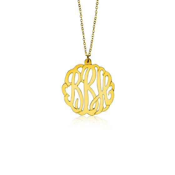 Gold Vermeil Script Monogram Necklace - Medium - Temptic Personalized Jewelry - Monograms - Name Plates - Name Bars - Silver and Gold