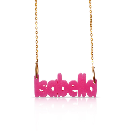 Acrylic Name Necklace - Gold Vermeil Chain - Temptic Personalized Jewelry - Monograms - Name Plates - Name Bars - Silver and Gold
