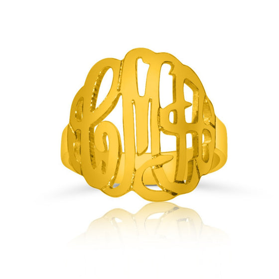 Gold Vermeil Monogram Ring - Medium - Temptic Personalized Jewelry - Monograms - Name Plates - Name Bars - Silver and Gold