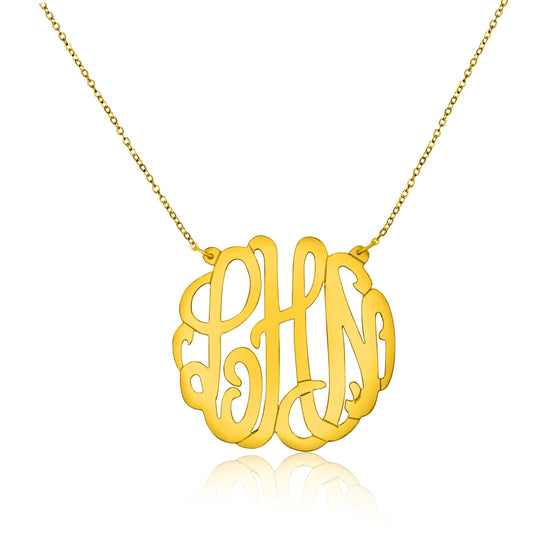 Gold Vermeil Script Monogram Split Chain Necklace - Medium - Temptic Personalized Jewelry - Monograms - Name Plates - Name Bars - Silver and Gold