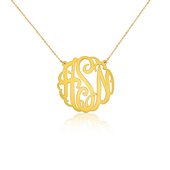 Gold Vermeil Mini Script Monogram Split Chain Necklace - Temptic Personalized Jewelry - Monograms - Name Plates - Name Bars - Silver and Gold