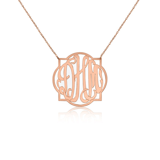 Rose Gold Vermeil Quatrefoil Monogram Necklace - Medium