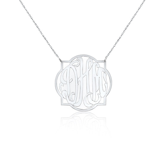 Sterling Silver Quatrefoil Monogram Split Chain Necklace - Medium